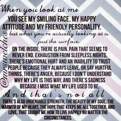 And thankfulness that God has given me the strength to carry this burden with laughter and joy in between the hard times. Chronic Migraines, Chronic Pain, Rheumatoid Arthritis, Chronic Illness Quotes, Endometriosis Quotes, Complex Regional Pain Syndrome, Ankylosing Spondylitis, Crps, Chronic Fatigue Syndrome