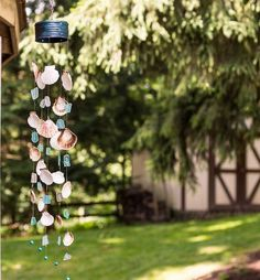 seashell windchime, crafts, how to, outdoor living