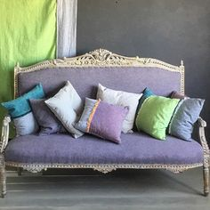 My woven fabrics are genius - I know I'm not supposed to say that but they are!! Two of my paint colours in each fabric making either a contrasting or harmonious mix. #ColouredLinens are a cotton/linen mix. #anniesloan #colouriseverything #coloriseverything