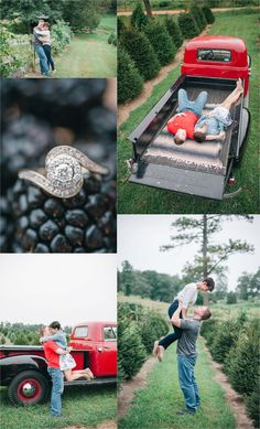 Maryland antique Chevrolet engagement portraits in Christmas Tree farm | Friendship Forest Christmas Tree Farm Engagement | Amanda Adams Photography