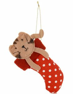 Felt Cat In A Stocking Decoration | Red | Accessorize