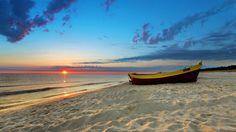 Sand, ocean, sunset, boat