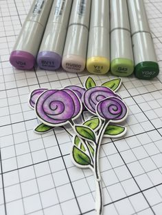detail photo of Copic marker swirly flowers ,,. luv the shading with purples ...