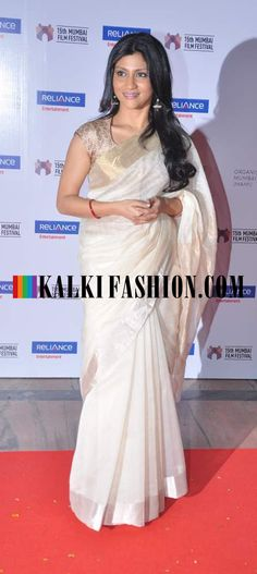 http://www.kalkifashion.com/    Konkona sen sharma  in a cream saree with brocade blouse at 15th Mumbai Film festival closing ceremony.