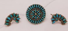 Zuni Sz 6 Ring w/Earrings See Images, Needlepoint, 1950s, Ears, Stones, Auction, Brooch, Stud Earrings