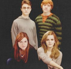 Harry Potter, Gina Weasley, Rony Weasley e Hermione Granger Harry Potter Hermione, Harry Et Ginny, Photo Harry Potter, Blaise Harry Potter, Mundo Harry Potter, Harry Potter Pictures, Harry Potter Books, Harry Potter Love, Harry Potter Characters