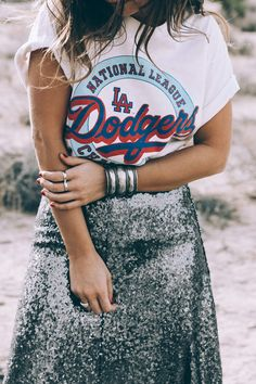 Sequin midi skirt, sneakers, vintage t-shirt
