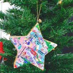 Christmas Ornaments made from park maps