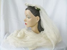 30s 40s Vintage Wedding Bridal Veil with Wax by MyVintageHatShop, $96.00