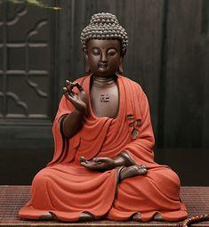 Large Buddha Statue Sculpture Handmade Figurine Purple sand material Buddhism Home Decorative Ceramic Crafts Send friends gifts Gautama Buddha, Buddha Buddhism, Buddhist Art, Buddha Statue Home, Buddha Statues, Buddha Face, Buddha Zen, Yoga Zen, Sculptures