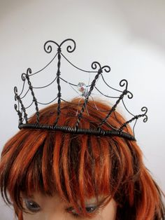 Spider Queen Spiderweb  Tiara  With Crystal by thedustyraven, $49.00  looks like a diy, maybe not too hard