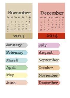 Free 2014 Calendar Cards {all months included in the 3 page PDF} and Photo Pointers from scrappystickyinkymess