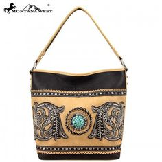 Made of PU leather, this handbag has: A big rhinestones concho encircled silver embellishments Floral embroidery lacing with crystals A single compartment divid Leather Purses, Pu Leather, Layers Design, Floral Embroidery, Fashion Handbags, Montana, Shoulder Bag, Things To Sell, Coffee