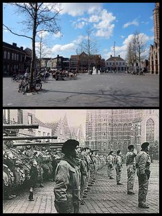 The Polish Army Brigade on the Market in Oosterhout, date possible The tanks are Sherman. Polish Pantser Brigade on the Market in Oosterhout possible date The tanks Sherman and the same place today Then And Now Photos, Peaceful Life, Military History, World War Two, Ghosts, Wwii, Britain, The Past, Europe