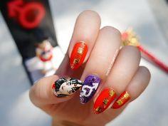 Sailor Mars inspired nail art by http://love2807.blogspot.de/2015/08/sailor-moon-blogparade-sailor-mars-nail.html