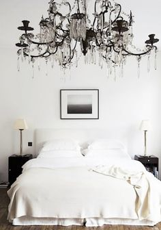 If it was not IMPERATIVE in Texas to have a ceiling fan in every room, this might be my choice  #black #chandelier #love