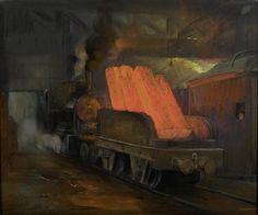 Vervoer van gloeiend staal-ingots per trein - Herman Heijenbrock (1907)