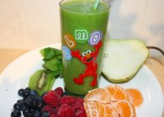 Keep Halloween healthy and serve your kids this Green Monster Smoothie. Smoothies and juices are an excellent way to include those hidden extra servings of vegetables and fruits for kids. Making it fun can make it more exciting and appealing to drink. This is a great mid-morning or mid-afternoon snack for a great anti-oxidant hit. Making snacks bright and colorful is important to gain a range of micro-nutrients which is important for healthy cognitive function and immunity. ENJOY!