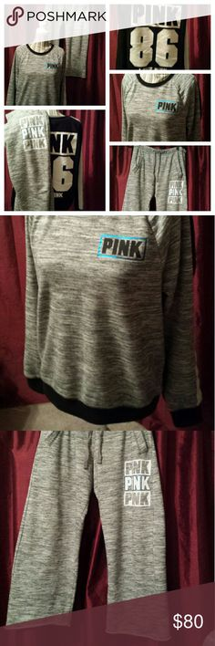 VS Pink sweatsuit jogging set Victoria's Secret Pink jogger set. This is the raw edge set so I trimmed the bottoms to fit me better. I'm 5'3 and they go to the ground on me in flats... If you're taller than 5'4 or 5'5 I think they would be too short for you.  Top is medium Bottoms are small but they run big PINK Victoria's Secret Tops Sweatshirts & Hoodies