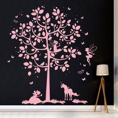 Wandtattoos - Wandtattoo Baum mit Feen Einhorn Elfen M2015 - ein Designerstück von IlkaParey bei DaWanda