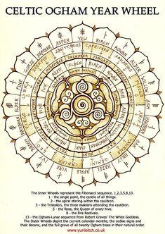 Celtic Ogham Year Wheel Print By Yuri Leitch ~ celtic ogham witchcraft zodiac sabbat wheel of the year wicca pagan symbol symbols druid druidic tree trees Simbolos Tattoo, Inca Tattoo, Symbol Tattoos, Druid Tattoo, Ogham Tattoo, Celtic Druids, Celtic Paganism, Celtic Symbols, Druid Symbols