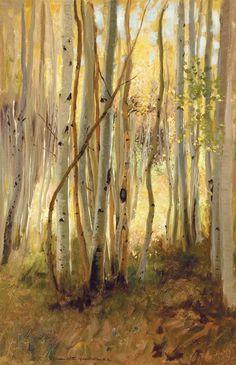 Hamilton Hamilton (American painter) 1847 – 1928 Sunlit Birch Forest, s.d., oil on canvas, 76.8 x 51.1 cm. (30.25 x 20.13 in.). Signed lower center: Hamilton Hamilton, N.A., private collection