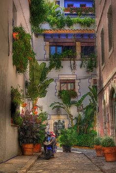 Aley of Sitges, Barcelona, Spain. This is the kind of beautiful streets you can walk along in Barcelona.