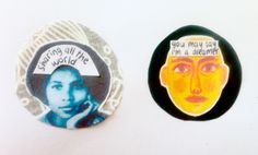 John Lennon, Imagine badges. Ideal handmade personalised Christmas gift. Favourite song or movie quotes. Cute, individual, quirky collages.