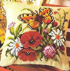 Vervaco 1200-496 Butterfly and Flowers Cushion Front