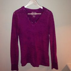 Long sleeved hooded tee Maroon long sleeve tee with a hood and sequin accents. Super soft. Size large. Nine West Tops Tees - Long Sleeve