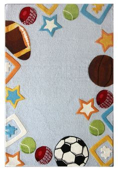 A Sports Rug, To Add A Pop Of Color To A Little Athlete Boy #