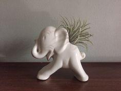 Elephant Vase Planter Ceramic White Cream Vessel Atomic MCM by WatershedCollective on Etsy