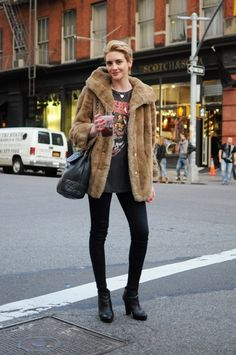 Fur Coat, Band Tee, and Black Jeans by hannah.chun.52