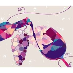 Discover recipes, home ideas, style inspiration and other ideas to try. Art Du Vin, Wine Advertising, Prosecco Van, Frog Logo, Illustrations, Illustration Art, Triangles, Abstract Face Art, Wine Art