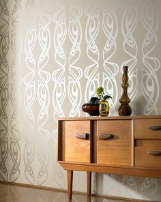 Diva Beige Wallpaper by Barbara Hulanicki - Designer Brown Wall Coverings by Graham Brown