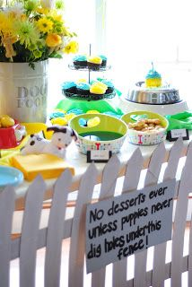 Poky Little Puppy birthday table --love the fence