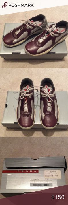 Burgundy prada shoes men's Low cut prada sneaks with original box and duster bag . Men's sneaker in original box and willing to negotiate..... Prada Shoes Sneakers