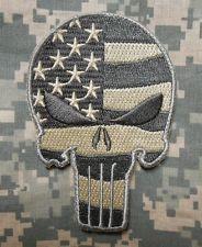 PUNISHER SKULL USA WAVING FLAG MILSPEC US ARMY MORALE ISAF CAMO ACU VELCRO PATCH
