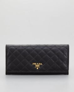 Quilted Saffiano Flap Wallet by Prada at Neiman Marcus.