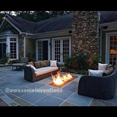 Love this!  Gas fireplace in the patio.  Flip a switch, light it up and it's always perfect!
