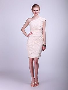 One Shoulder Allover Pleats Chiffon Bridesmaid Dress 0114058 - USD $125.98