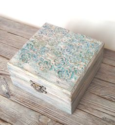 Bohemian turquoise jewelry box Beach cottage Chic decor Mixed media unique wooden box Boho decor Oak box (30.00 USD) by AprelDecor