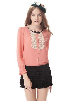 Black Tie Affair Bow Front Lace Bib Blouse in Coral By Qbily  $42.99