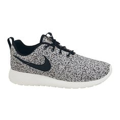 Nike WMNS Roshe Run Black Sail Speckle found on Polyvore featuring shoes, sneakers, nike, nike shoes, nike trainers, nike sneakers, 2 tone shoes and nike footwear