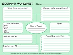 biography worksheet
