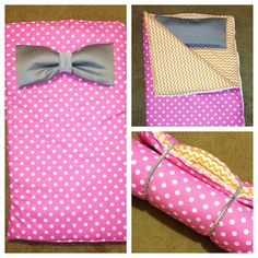 Made this #sleepingbag for my coworkers daughter. The bow on the front is detachable and transforms into a pillow! Her favorite colors are #pink and #orange. It even rolls up with sparkly elastic! It's also reversible  #customorders #sewing #homemadegifts #etsy #etsystore #bow #transformation #reversible #charlotte #nc #clt #seweasy #etsyelite #polkadots #chevron #extrapadding #WIDN #giftsforgirls #toddlergifts #homemadechristmas