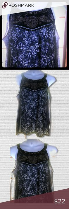 """Style & Co Navy Sleeveless Top Beautifully embellished with delicate embroidery dark navy blue and white top.   NWT size 2X  Measures  24"""" across the chest  27"""" long Style & Co Tops Tank Tops Dark Navy Blue, Blue And White, White Tops, Lace Shorts, Top Colour, Ballet Skirt, Tank Tops, Womens Fashion, Closet"""