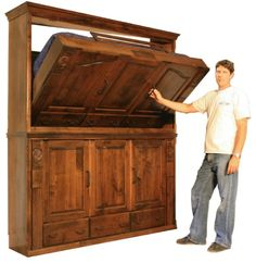 Murphy bed bunk beds except the bottom could be real cabinets and not a Murphy bed, great for kids room.