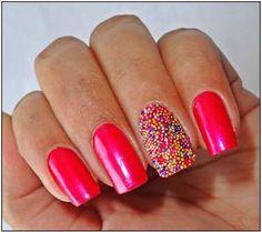 Pink Caviar Nail Art Design #Nails #Nailart www.finditforweddings.com
