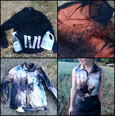 This is super easy to do. Get a plain black shirt, a empty spray bottle, bleach, and any color spray on fabric paint (you can find this at walmart.)  First, spray the bleach strategically on the black shirt, don't do too much because bleach pools. Let it dry then wash it twice by itself. Then, spray the fabric paint however you like it on the bleached and the edges of the black areas. Spray lightly around the edges to give a starry look. Let it dry, and voila! Simple, inexpensive, and very…
